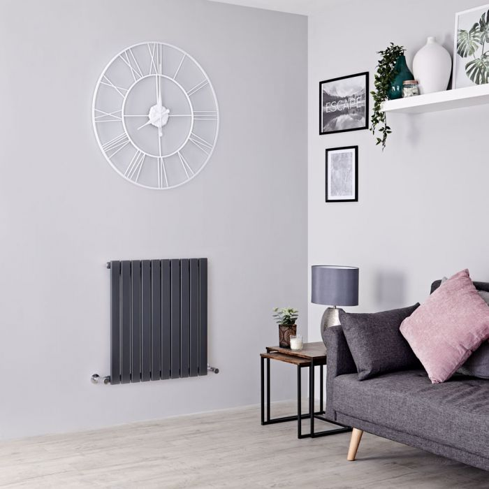 Milano Capri - Anthracite Horizontal Flat Panel Designer Radiator 635mm x 600mm
