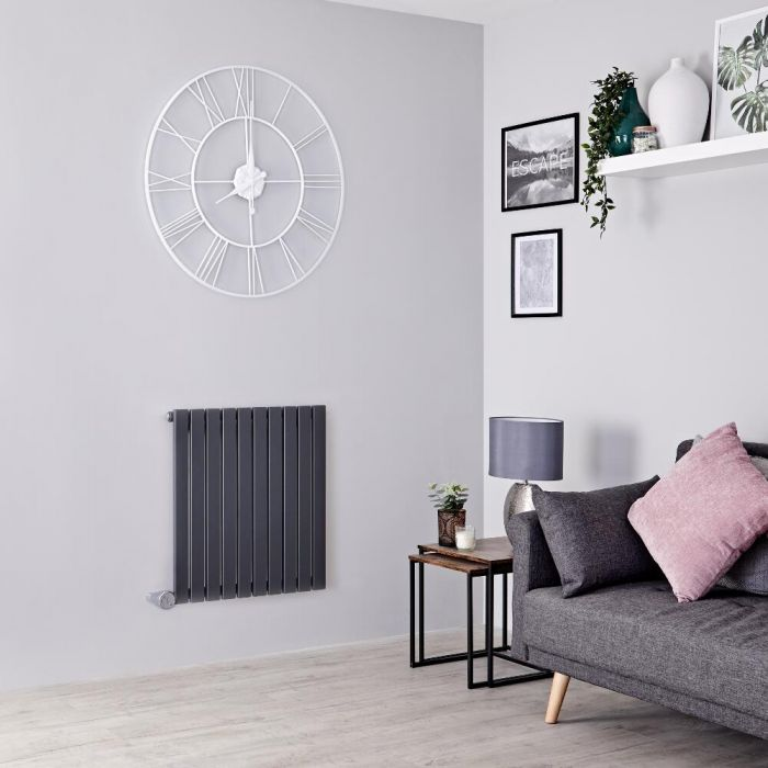 Milano Capri Electric - Anthracite Horizontal Flat Panel Designer Radiator 635mm x 600mm