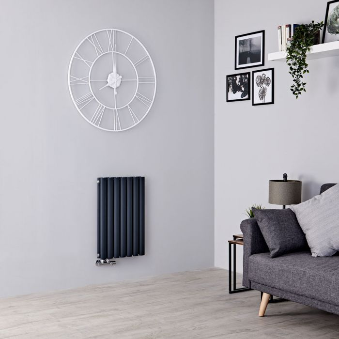 Milano Aruba Flow - Anthracite Horizontal Double Panel Middle Connection Designer Radiator 635mm x 413mm