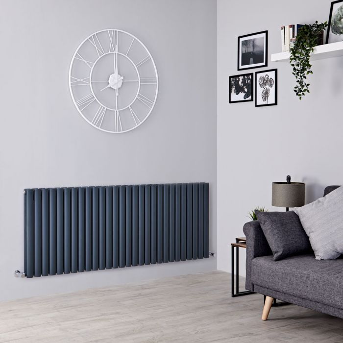 Milano Aruba - Anthracite Horizontal Designer Double Radiator 635mm x 1647mm