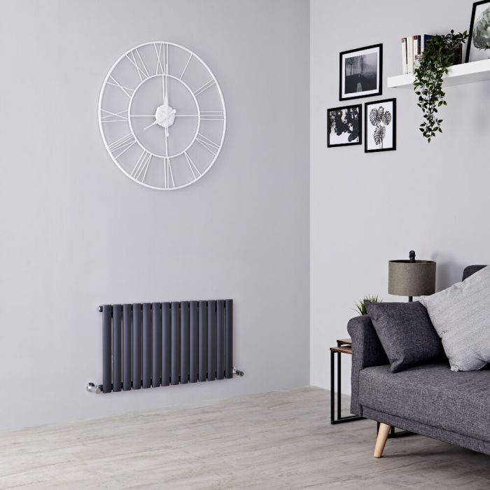 Milano Aruba - Anthracite Horizontal Designer Radiator 400mm x 826mm (Single  Panel)