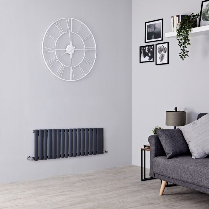 Milano Aruba - Anthracite Horizontal Designer Radiator 400mm x 1000mm (Double  Panel)