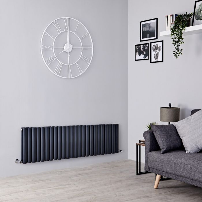 Milano Aruba - Anthracite Horizontal Designer Radiator 400mm x 1411mm (Double  Panel)