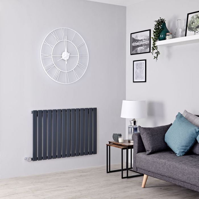 Milano Alpha Electric - Anthracite Horizontal Single Slim Panel Designer Radiator 635mm x 980mm