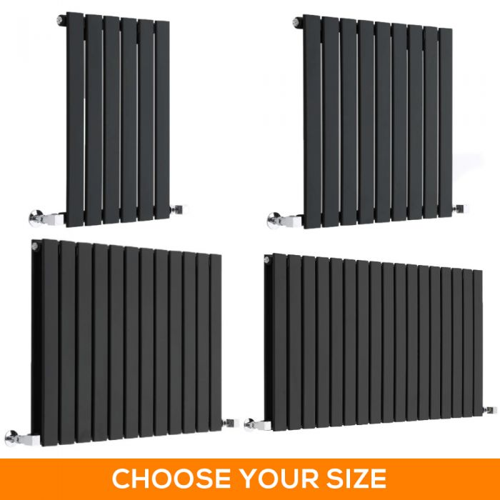 Milano Alpha - Black Horizontal Designer Radiator - Various Sizes