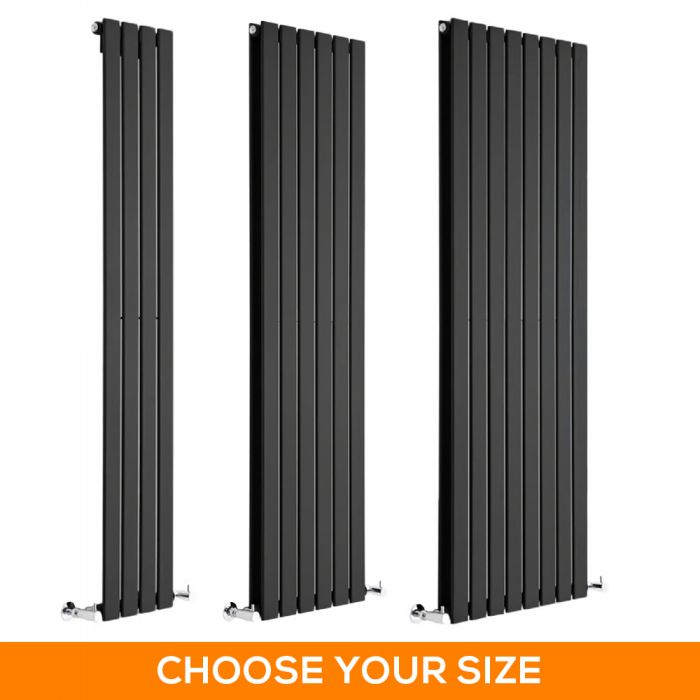 Milano Alpha - Black Vertical Designer Radiator - Various Sizes
