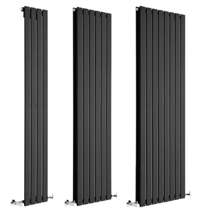 Milano Alpha - Black Vertical Designer Radiator - Various Sizes
