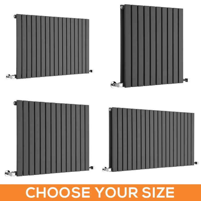 Milano Capri - Anthracite Flat Panel Horizontal Designer Radiator - Various Sizes