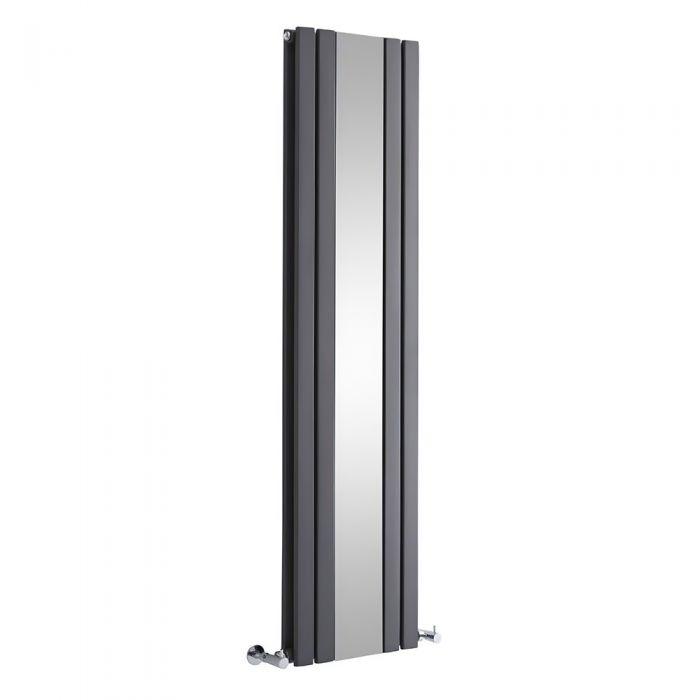 Milano Icon - Anthracite Vertical Mirrored Designer Radiator - Various Sizes