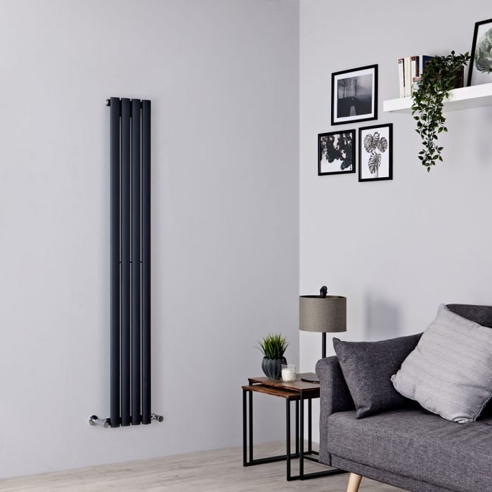 Milano Aruba - Anthracite Vertical Designer Radiator - Various Sizes and Valve Options