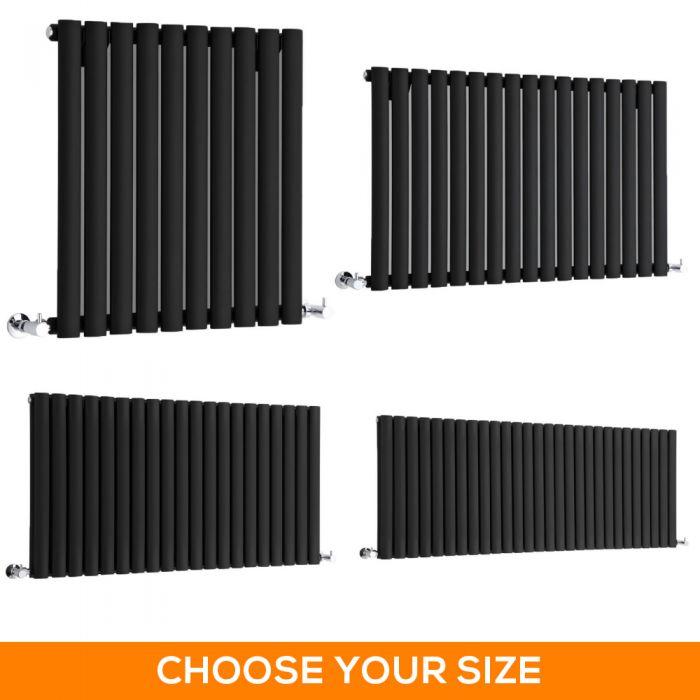 Milano Aruba - Black Horizontal Designer Radiator - Various Sizes