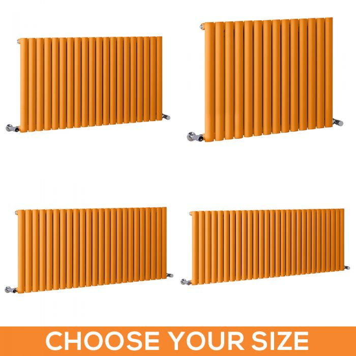 Milano Aruba - Orange Horizontal Designer Radiator - 635mm Tall - Choice Of Width