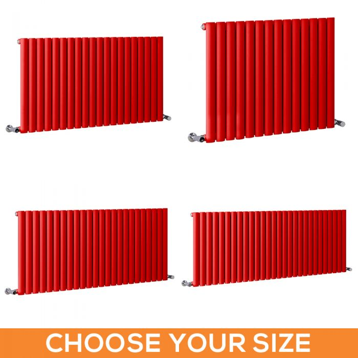 Milano Aruba - Red Horizontal Designer Radiator - 635mm Tall - Choice Of Width