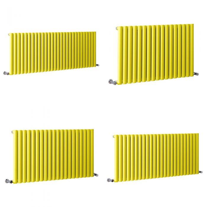 Milano Aruba - Yellow Horizontal Designer Radiator - 635mm Tall - Choice Of Width