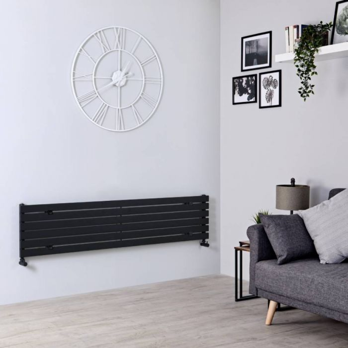 Milano Capri - Black Horizontal Flat Panel Designer Radiator 354mm x 1600mm