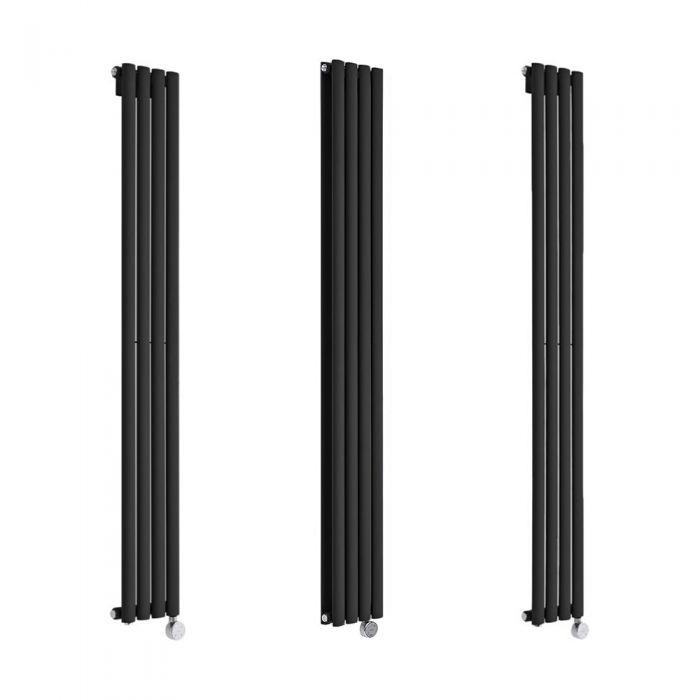 Milano Aruba Electric - 236mm Black Vertical Designer Radiator - Various Sizes