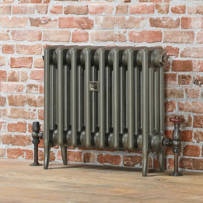 Milano Alice (Low-Level) Classic Column Cast Iron Radiator - 460mm - Antique Brass