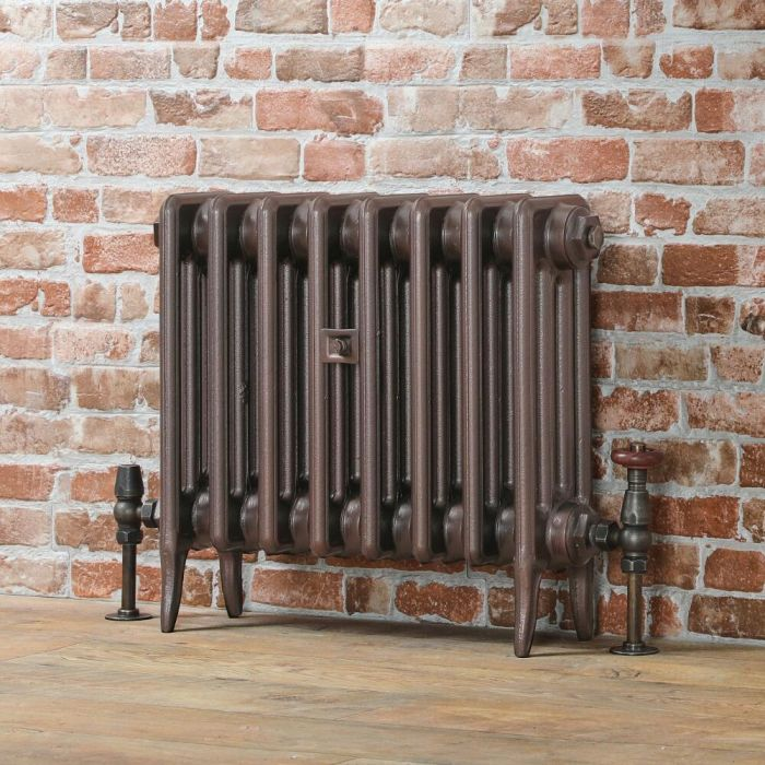 Milano Alice (Low-Level) Classic Column Cast Iron Radiator - 460mm - Aged Copper