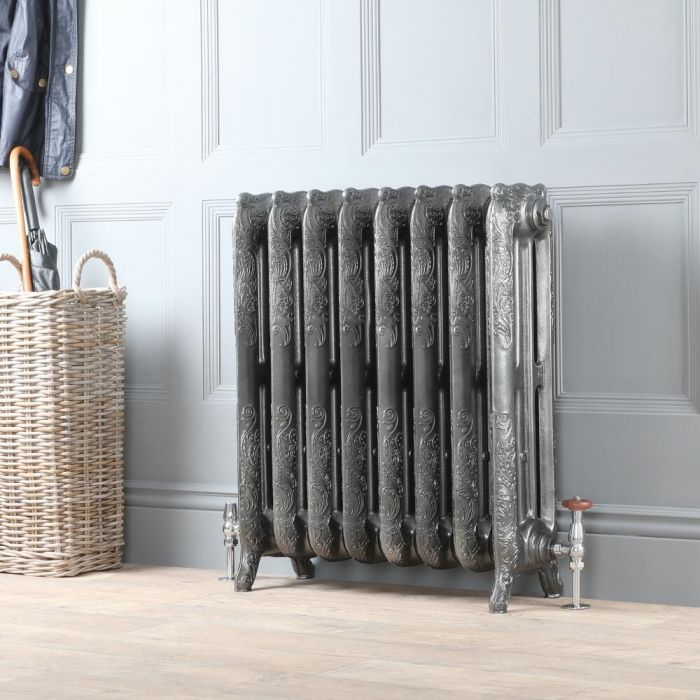 Milano Beatrix - Ornate Cast Iron Radiator - 768mm Tall - Pewter - Multiple Sizes Available
