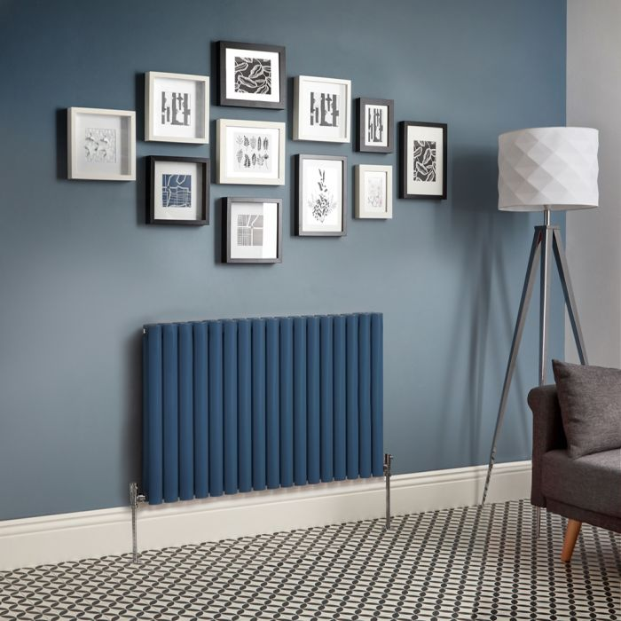 Milano Aruba - Dark Blue Horizontal Designer Radiator - 635mm Tall - Choice Of Width