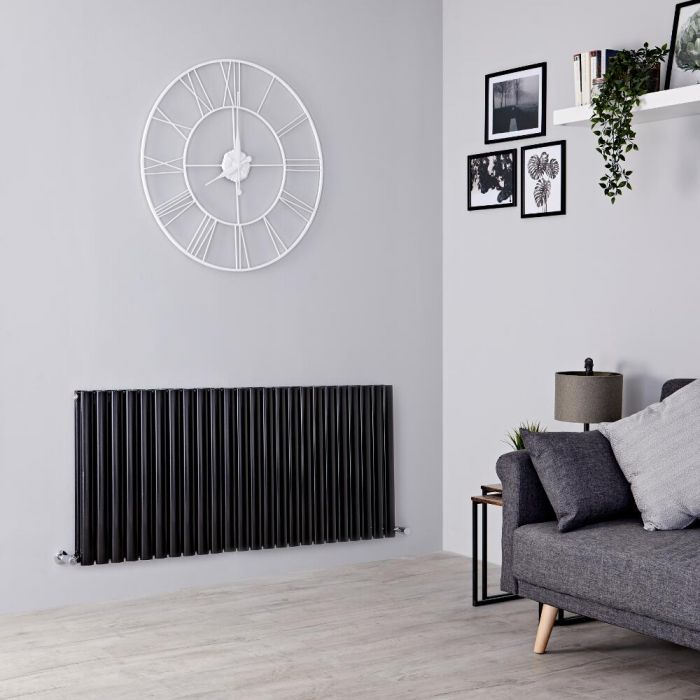 Milano Aruba - Black Horizontal Designer Double Radiator 635mm x 1411mm