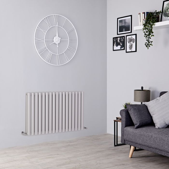 Milano Aruba - Light Grey Horizontal Designer Radiator 635mm x 1000mm (Double Panel)