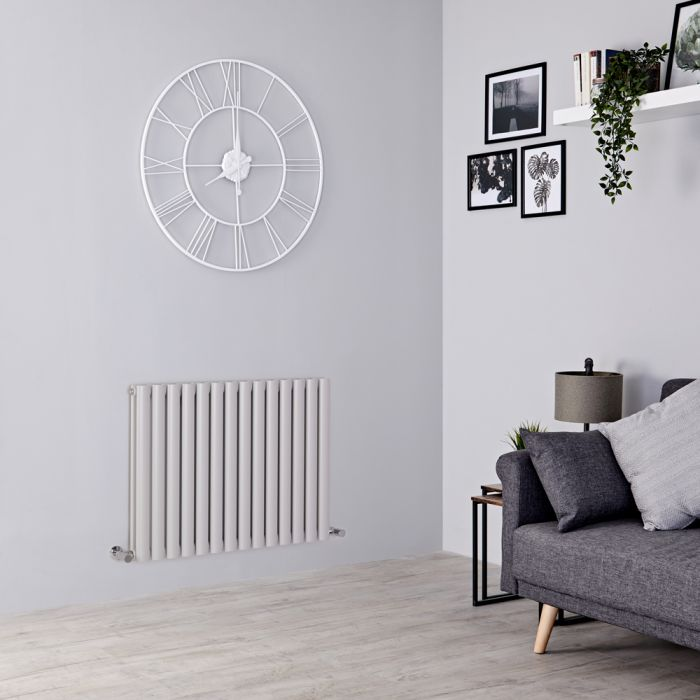 Milano Aruba - Light Grey Horizontal Designer Radiator 635mm x 826mm (Double Panel)