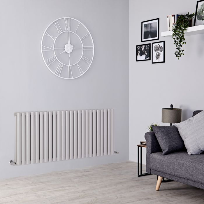 Milano Aruba - Light Grey Horizontal Designer Radiator 635mm x 1411mm (Double Panel)