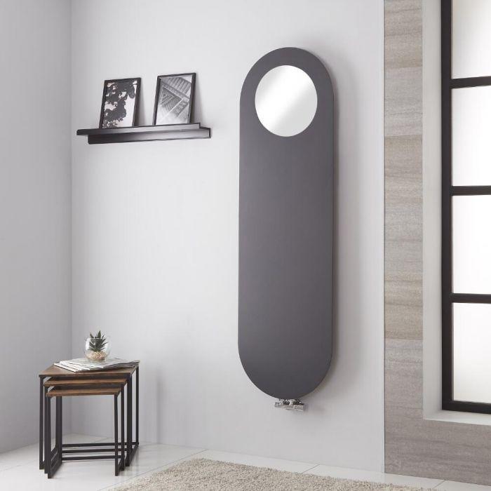 Lazzarini Way - Vulcano - Anthracite Vertical Mirrored Designer Radiator 1595mm x 495mm