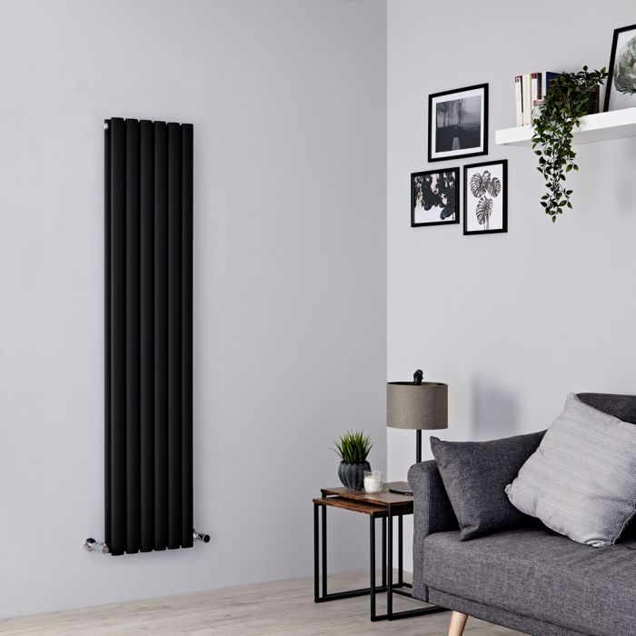 Milano Aruba - Black Vertical Designer Radiator 1600mm x 354mm (Double Panel)