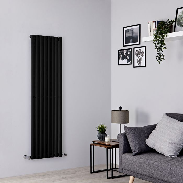 Milano Aruba - Black Vertical Designer Radiator 1600mm x 472mm