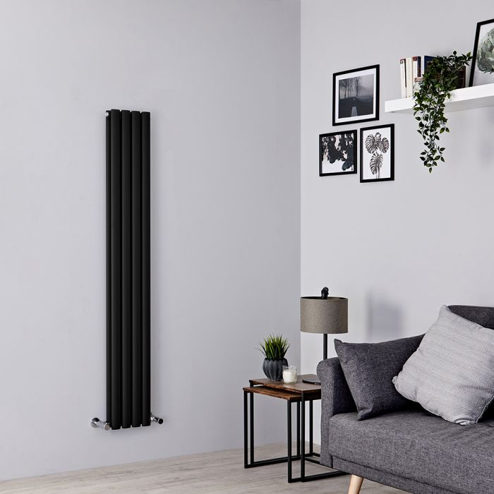 Milano Aruba Slim - Black Space-Saving Designer Radiator 1600mm x 236mm (Double Panel)