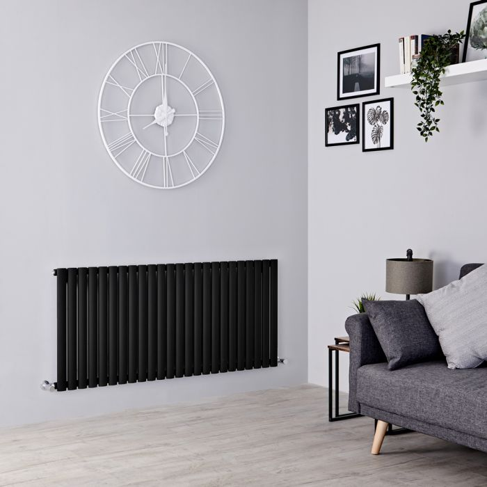 Milano Aruba - Black Horizontal Designer Radiator 635mm x 1411mm