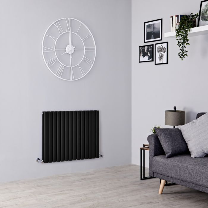 Milano Aruba - Black Horizontal Designer Double Radiator 635mm x 834mm