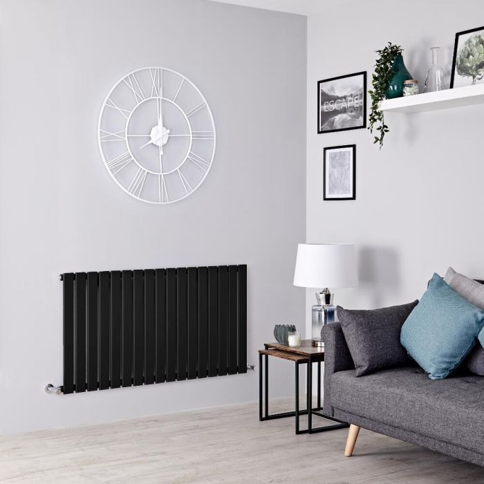 Milano Alpha - Black Horizontal Single Slim Panel Designer Radiator 635mm x 1190mm