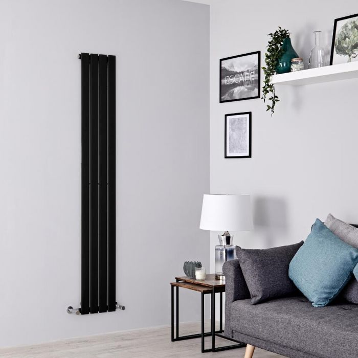 Milano Alpha - Black Vertical Single Designer Radiator 1600mm x 280mm