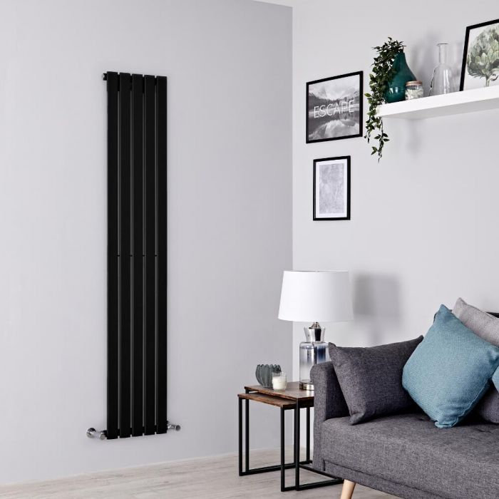 Milano Alpha - Black Vertical Single Designer Radiator 1600mm x 350mm