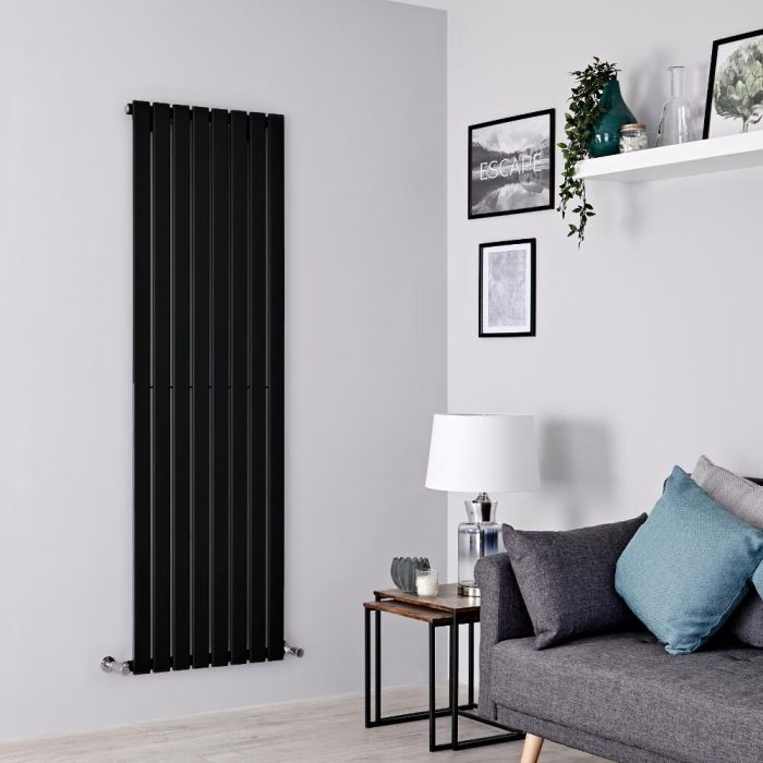 Milano Alpha - Black Vertical Single Designer Radiator 1600mm x 560mm