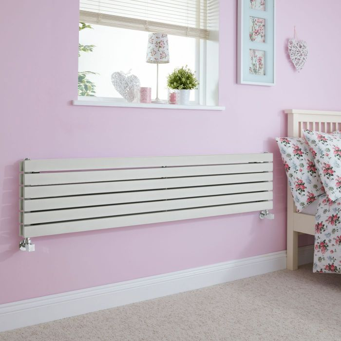 Milano Capri - Silver Flat Horizontal Designer Radiator 354mm x 1600mm (Double Panel)
