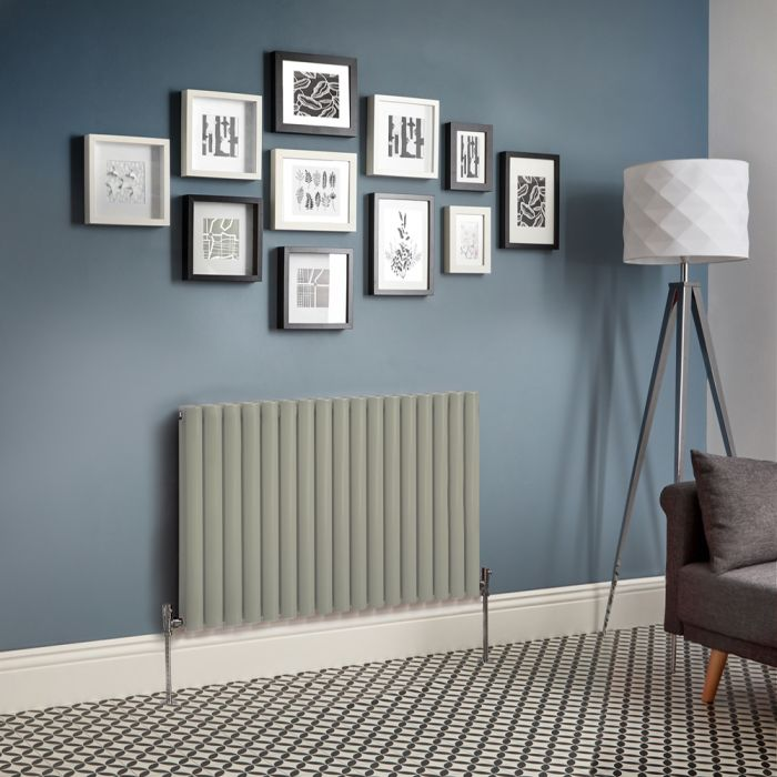 Milano Aruba - Sage Green Horizontal Designer Radiator - Various Sizes
