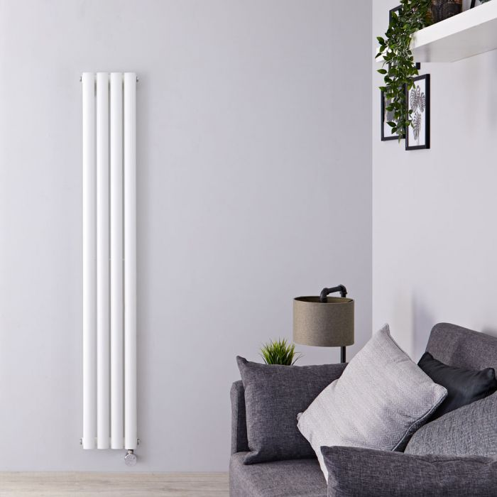 Milano Aruba Slim Electric - White Space-Saving Vertical Designer Radiator 1600mm x 236mm