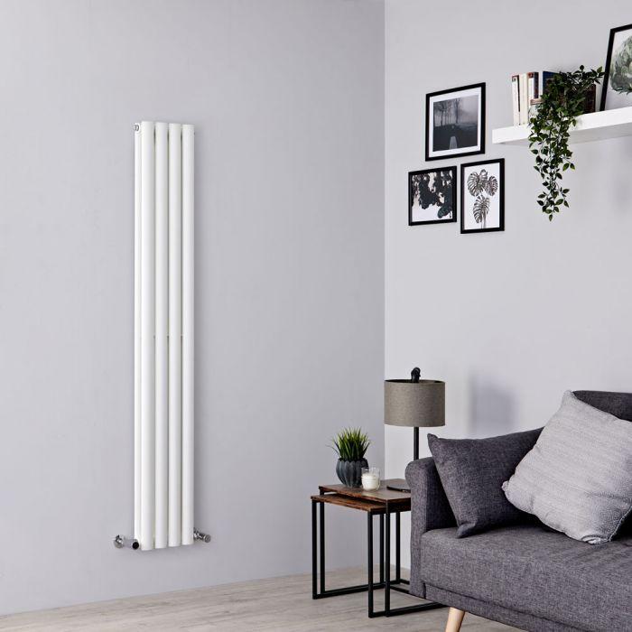 Milano Aruba Slim - White Space-Saving Vertical Designer Radiator 1600mm x 236mm (Double Panel)