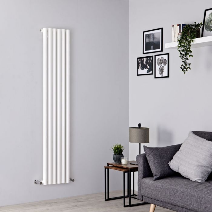 Milano Java - White Vertical Round Tube Designer Radiator 1600mm x 354mm