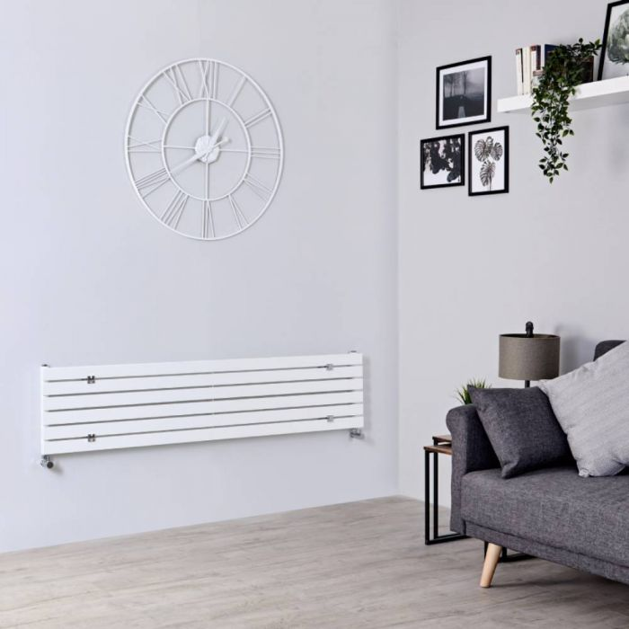 Milano Capri - White Horizontal Flat Panel Designer Radiator 354mm x 1600mm