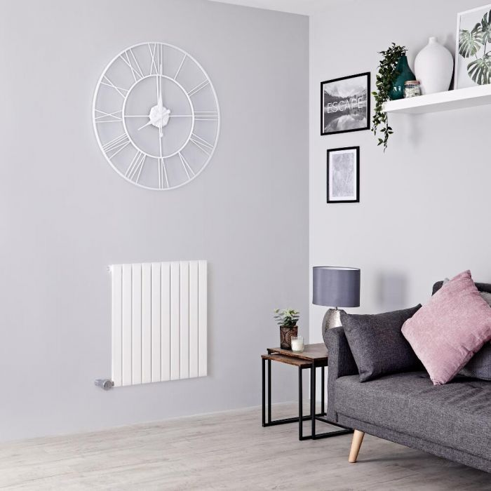 Milano Capri Electric - White Horizontal Flat Panel Designer Radiator 635mm x 600mm