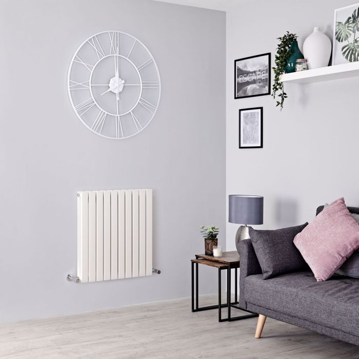 Milano Capri - White Horizontal Flat Panel Designer Radiator 635mm x 600mm (Double Panel)