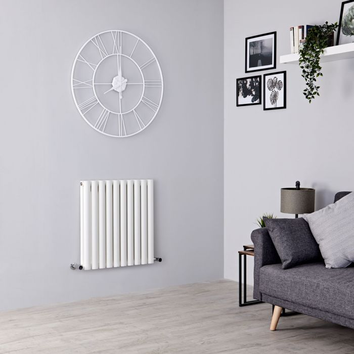 Milano Aruba - White Horizontal Designer Radiator 635mm x 590mm (Double Panel)