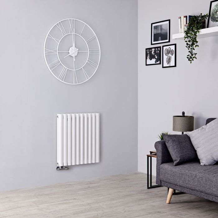 Milano Aruba Flow - White Horizontal Double Panel Middle Connection Designer Radiator 635mm x 590mm
