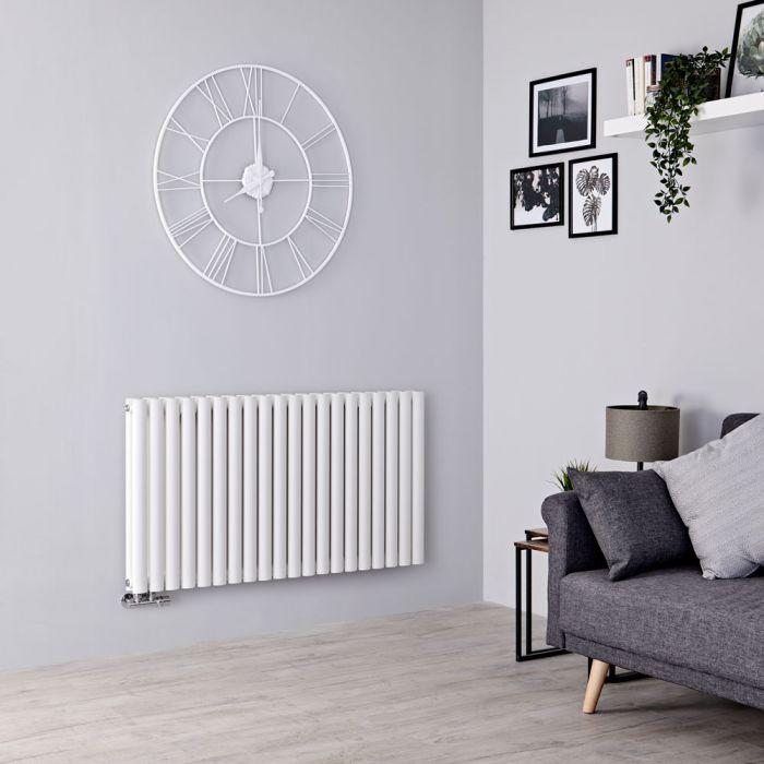 Milano Aruba Flow - White Horizontal Double Panel Middle Connection Designer Radiator 635mm x 1180mm