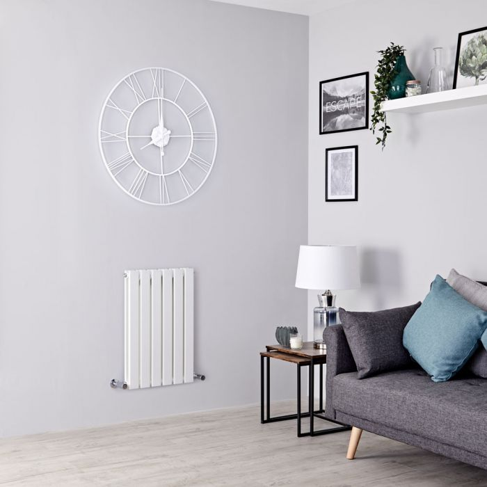 Milano Alpha - White Horizontal Double Slim Panel Designer Radiator 635mm x 420mm